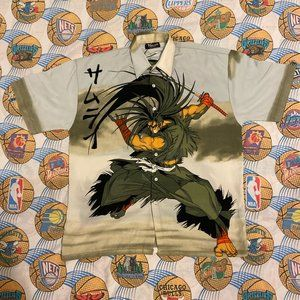 Vintage Anime Samurai Casual Button Down Shirt